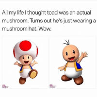 Life Wow And Girl Memes All My L Thought Toad Was An Actual Mushroom Turns Out Hes Just Wearing A Hat LY EILY