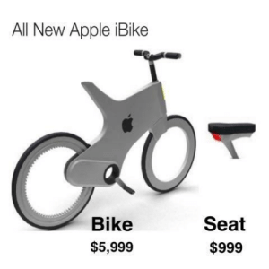 Apple, Memes, and Http: All New Apple iBike  Bike  Seat  $5,999  $999 Just an ANALogy via /r/memes http://bit.ly/2QTyC6Y
