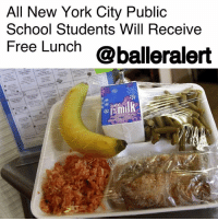 "Bailey Jay, Memes, and New York: All New York City Public  School Students Will Receive  Free Lunch @balleralert All New York City Public School Students Will Receive Free Lunch- blogged by @niksofly ⠀⠀⠀⠀⠀⠀⠀⠀⠀⠀⠀⠀⠀⠀⠀⠀⠀⠀⠀⠀⠀⠀⠀⠀⠀⠀⠀⠀⠀⠀⠀⠀⠀⠀⠀⠀ The New York Times reports, that New York City will now provide free lunch for all public school students. ⠀⠀⠀⠀⠀⠀⠀⠀⠀⠀⠀⠀⠀⠀⠀⠀⠀⠀⠀⠀⠀⠀⠀⠀⠀⠀⠀⠀⠀⠀⠀⠀⠀⠀⠀⠀ School counselor, Carmen Fariña, announced the initiative Wednesday, at an elementary school initiative in Manhattan. ⠀⠀⠀⠀⠀⠀⠀⠀⠀⠀⠀⠀⠀⠀⠀⠀⠀⠀⠀⠀⠀⠀⠀⠀⠀⠀⠀⠀⠀⠀⠀⠀⠀⠀⠀⠀ Fariña stated that, ""This is about equity. All communities matter."" 75% of students in public schools qualify for free or reduced lunch hailing from low-income households. ⠀⠀⠀⠀⠀⠀⠀⠀⠀⠀⠀⠀⠀⠀⠀⠀⠀⠀⠀⠀⠀⠀⠀⠀⠀⠀⠀⠀⠀⠀⠀⠀⠀⠀⠀⠀ This initiative will reach an additional 200,000 students a year and save parents an average of $300."