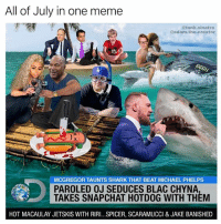 Blac Chyna, Meme, and Memes: All of July in one meme  tank.sinatra  @adam.the.creator  666H  MCGREGOR TAUNTS SHARK THAT BEAT MICHAEL PHELPS  PAROLED OJ SEDUCES BLAC CHYNA  TAKES SNAPCHAT HOTDOG WITH THEM  HOT MACAULAY JETSKIS WITH RIRI...SPICER, SCARAMUCCI & JAKE BANISHED NEW MONTH NEW MEMES ( @adam.the.creator x @tank.sinatra )