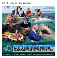 Monthly collab with the unbelievably talented @adam.the.creator: All of July in one meme  @tank.sinatra  adam.the.creator  MCGREGOR TAUNTS SHARK THAT BEAT MICHAEL PHELPS  PAROLED OJ SEDUCES BLAC CHYNA  TAKES SNAPCHAT HOTDOG WITH THEM  HOT MACAULAY JETSKIS WITH RIRI...SPICER, SCARAMUCCI & JAKE BANISHED Monthly collab with the unbelievably talented @adam.the.creator