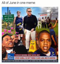 All of June in one meme  @tank.sinatra  @adam.the.creator  How to talk to Migos  XWrong  WELCOME  TO  Arizona  THE GRAND CANYON STATE  The  Exper  HE NOWR  LAVA  TORNADO WARNING: MOW FASTER, BRO!  Sp  The  Weather  4:44 Channel  STEVE CARELL SO HOTTURNS FLOOR LAVA, MELTS ARIZONA  TRUMP ON COVER OF THICC MAGAZINE...MIGOS TRIGGERED... JAY-Z BRINGS TIDAL WAVE...CHANCE PROUD AF OF JONAH HILL It's about that time for the monthly meme run down, a @tank.sinatra and @adam.the.creator and collaboration
