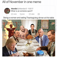 Meme, Sorry, and Thanksgiving: All of November in one meme  Mandisi @Mandac5.11/5/17  What is an extreme sport?  91,040 323 ㅇ1,854  Being a woman and eating Thanksgiving dinner at this table  TOVE  SORRY  I'M LA  NUT @adam.the.creator
