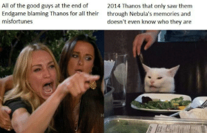 Saw, Good, and Thanos: All of the good guys at the end of  Endgame blaming Thanos for all their  2014 Thanos that only saw them  through Nebula's memories and  doesn't even know who they are  misfortunes Honestly don't know if it's been done yet…also pretty late.
