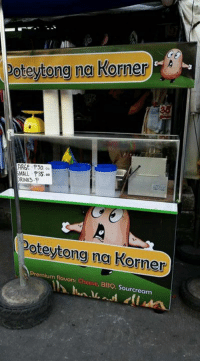 Filipino (Language), Cheese, and Arg: All  Poteytong na Korner  A  ARGE-P50  MALL P35.  DRINKS  Poteytong na Korner  Premium flavors: Cheese, BBQ, Sourcream Loonie  >generoso