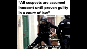 """Fbi, Funny, and Law: """"All suspects are assumed  innocent until proven guilty  in a court of law""""  POL  Open up you're innocent! FBI OPEN UP"""