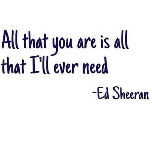 Ed Sheeran, All That, and Net: All that you are is all  that Ill ever need  -Ed Sheeran https://iglovequotes.net/