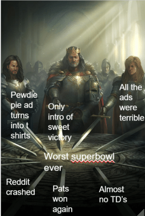 Dank, Memes, and Reddit: All the  ads  were  terrible  Pewdie  pie ad only  turns intro of  into  shirt  sweet  vicory  Worst superbg  ever  Reddit  crashed  Pats  won  again  Almost  no TD's Terrible tbh (Hd version) by YeEeeee3eEet MORE MEMES