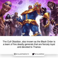 Memes, Black, and Infinity: all  The Cull Obsidian, also known as the Black Order is  a team of five deadly generals that are fiercely loyal  and devoted to Thanos  回@VILLA IN TRUEFACTS  步@VILLA IN PEDI 4 of them will be in Infinity War! The next 5 posts will be all about them and their abilities.