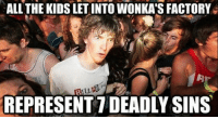"Charlie, Children, and Fucking: ALL THE KIDS LET INTO WONKA'S FACTORY  REPRESENT 7 DEADLY SINS ibeggedformercytwice:  octopusbath:  justthefactsmaam:  verrottenden:  rafaofl:  ""Augustus Gloop is gluttony (always eating), Veruca Salt is greed (spoilt brat who always wants more), Violet Beauregarde is pride (always boasting), Mike Teavee is sloth (sits and watches TV all the time), Grandpa Joe is envy (he wants what Wonka and Charlie have in the factory and the ticket), Charlie is lust (not the sexual version, but the intense desire), and Wonka is wrath (punishing everyone for their flaws).""    oh… my… fucking… God!  DIVIDED BY ZERO  Originally there were roughly fifteen children chosen. Even seven at one point. However it still seemed too much so Dahl had to keep cutting down when it came to editing to achieve a better quality book.  We studied the seven deadly sins in year six using this book to do so. It got us a trip to a chocolate factory and I still have the character I designed to be another child in Charlie and the Chocolate Factory. Though Lisa Sexcetra would not have been allowed in I think. Lisa also identified as Luke and had crushes on both genders. I made her when I was ten and that still freaks me out a bit that I did."
