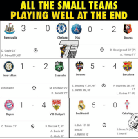 "Barcelona, Chelsea, and Memes: ALL THE SMALL TEAMS  PLAYING WELL AT THE END  ALL  Newcastle  Chelsea  PSG  Rennes  D. Gayle 23'  A. Pérez 59, 63  B. Bourigeaud 52 (P)  A. Hunou 71""  OGCE  Levante  Barcelona  Inter Milan  Sassuolo  E. Boateng 9, 30, 49  E. Bardhi 46, 56  P Coutinho 38,59,  64  Rafinha 80'  M. Politano 25""  D. Berardi 72'  L. Suárez 71' (P)  Bayern  VfB Stuttgart  Real Madrid  Celta Vigo  D. Ginczek 5, 55  A. Donis 42  C. Akolo 52  G. Bale 13, 30  Isco 32'  A. Hakimi 52  C. Tolisso 21  S. Gómez 74' (OG  T. Kroos 81 Amazing! 👏😂"