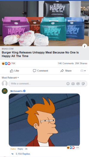 9gag, Burger King, and McDonalds: ALL THE TIME  HADHADDAPPY  THE TIME  ALL THE TIME  9GAG.COM  Burger King Releases Unhappy Meal Because No One Is  Happy All The Time  14K Comments 26K Shares  Comment  b Like  (-  Share  Most Relevant  Write a comment...  McDonald's  Haha Reply 3h  5,154 Replies No one is happy all the time