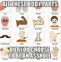 Cha! Cnt You Just B Mouth 2 Ffs 😕😂😭😂😭😂 NoManners Lmaoooo: ALL THESE BODY PARTS  Mouth  Mouthfl)  Liver  lungs  Mouth(2)  Muscle  Mustache  Muscle  Neck  Mustache)  Nose 1)  Nose  BUT YOU CHOOSE  TO BE AN ASSHOLE  Nose(2)  Palm  alm Cha! Cnt You Just B Mouth 2 Ffs 😕😂😭😂😭😂 NoManners Lmaoooo