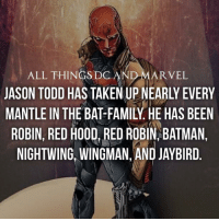 Batman, Memes, and Taken: ALL THINGS DC  AND MARVEL  JASON TODD HAS TAKEN UP NEARLY EVERY  MANTLE IN THE BATFAMILY HE HAS BEEN  ROBIN, RED HOOD RED ROBIN, BATMAN,  NIGHTWING, WINGMAN, AND JAYBIRD