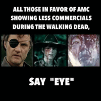 """Memes, The Walking Dead, and Walking Dead: ALL THOSE IN FAVOR OF AMC  SHOWING LESS COMMERCIALS  DURING THE WALKING DEAD,  SAY """"EYE"""""""
