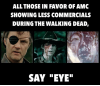 """Martin, Memes, and The Walking Dead: ALL THOSE IN FAVOR OF AMC  SHOWING LESS COMMERCIALS  DURING THE WALKING DEAD,  SAY """"EYE"""" EYE!! JOIN US: http://bit.ly/1TGOfeX ~Martin"""