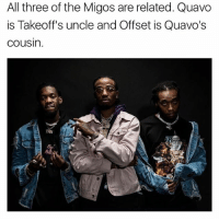 migos: All three of the Migos are related. Quavo  is Takeoff's uncle and Offset is Quavo's  Cousin. migos