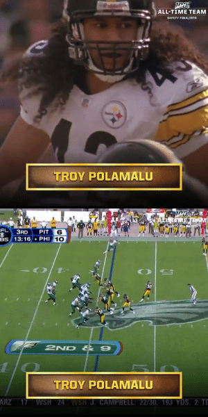 2x Super Bowl Champion. 8x Pro Bowler. All-time hair.  Will @steelers S Troy Polamalu make the #NFL100 All-Time team? @tpolamalu   📺: NFL 100 All-Time Team | Friday 8pm ET on @NFLNetwork https://t.co/3q5m6u4d7y: ALL-TIME TEAM  SAFETY FINALISTS  TROY POLAMALU   EL TAMETEAM  SAFETY FINACISTS  FL  PIT 6  BS 13:16 PHI 10  ЗAD  O  50  2ND & 9  1  TROY POLAMALU  ARZ 17 WSH 24 WSH J. CAMPBELL: 22/30, 193 YDS, 2 TD 2x Super Bowl Champion. 8x Pro Bowler. All-time hair.  Will @steelers S Troy Polamalu make the #NFL100 All-Time team? @tpolamalu   📺: NFL 100 All-Time Team | Friday 8pm ET on @NFLNetwork https://t.co/3q5m6u4d7y