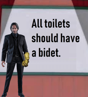 I hear his voice the more I say it.: All toilets  should have  a bidet. I hear his voice the more I say it.