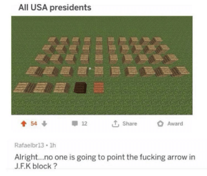 history lesson for y'all: All USA presidents  Award  54  12  Share  Rafaelbr13 1h  Alright...no one is going to point the fucking arrow in  J.F.K block? history lesson for y'all