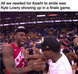 OH KAWHI.   (via thekillercrossover/IG): All we needed for Kawhi to smile was  Kyle Lowry showing up in a finals game.  State Farm  CHASEO OH KAWHI.   (via thekillercrossover/IG)