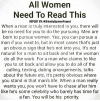 """@Regrann from @silentlyspokenproject - AWOMANSWORTH❤ ____________________________________________ No more chasing GHOSTS... No more room for lingering DOUBT... No cause for SPECULATION... No need for INSECURITIES... And no more REQUESTS... Queens when a Man is truly for you please understand you won't have to """"DUMMY-DOWN"""" your WANTS & NEEDS because he will NEED & WANT to only Please you! You won't have to go OUT YOUR WAY to get his ATTENTION because he will be FIXATED & MESMERIZED only by you! And most importantly he will make you KNOW & FEEL you are 1 because it's not your job to solidify your position.... That's his JOB! MAKEHERFEELLIKESHESTHEONLYONE💯 FAITHFILLEDROMANTIC PATIENTLYAWAITTHELOVEYOUDESERVE ____________________________________________ ▪️PLEASE TAG A QUEEN WHO NEEDS THIS REMINDER ____________________________________________ STOPWHATYOUREDOINGRIGHTNOW For QUOTES-MESSAGES about LIFE & LOVE Follow the REALEST IG PAGE ever @SILENTLYSPOKENPROJECT ‼️‼️‼️ AMANWHOACTUALLYGETSIT💯 ____________________________________________ (LIKE➕COMMENT➕TAG OTHERS➕SHARE➕FOLLOW⬇️) FollowTheONLYSilentlySpokenProject ➕FOLLOWIG:@SilentlySpokenProject ➕FOLLOWIG:@SilentlySpokenProject ➕FOLLOWIG:@SilentlySpokenProject ____________________________________________ ITSAMANSJOBTOFINDHISQUEEN💯 REMAINSINGLEUNTILUKNOITSREAL HAPPILYAFTERONEDAY FORHER LASTOFADYINGBREED YOUDESERVEBETTER EXCUSESNOTSOLDHERESORRY EXCUSESNOTSOLDORACCEPTED ITTAKESCOURAGETOLOVE ITTAKESCOURAGETOLOVEAGAIN SWYD AMANWHOACTUALLYGETSIT SILENTLYSPOKENFROMTHEHEART SILENTLYSPOKENPROJECT SSP THEONLYSSP LOVEQUOTES MRISAYWHATOTHERSWONT ITELLTHETRUTHNOTYOURTRUTH: All Women  Need To Read This  REPOST BY: @SilentlySpokenProject  When a man is truly interested in you, there will  be no need for you to do the pursuing. Men are  born to pursue women. Yes, you can pursue a  man if you want to, but in most cases that's just  an obvious sign that he's not into you. It's not  natural for a man to sit back and let the woman  do all the wor"""