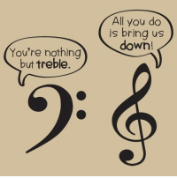 Meme, Music, and Down: All you do  is bring us  down!  You're nothing  but treble. Music Meme!