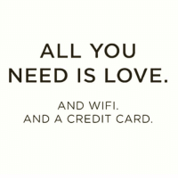 Memes, Credit Cards, and Wifi: ALL YOU  NEED IS LOVE  AND WIFI  AND A CREDIT CARD The bare necessities 💁🏼 @thebossbitchlife