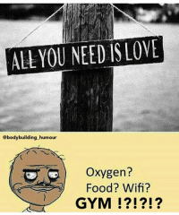 Memes, Crossfit, and Oxygen: ALL YOU NEED IS LOVE  @body building humour  oxygen?  Food? Wifi?  GYM ...... ......Gym is life... 💥💥💥💥💥💥 FOLLOW US . ⬇️⬇️⬇️⬇️⬇️⬇️⬇️⬇️⬇️⬇️⬇️⬇️ 🔥🔥@bodybuilding_humour 🔥🔥 ⬆️⬆️⬆️⬆️⬆️⬆️⬆️⬆️⬆️⬆️⬆️⬆️ ... bodybuilding gymmemes crossfit strong motivation powerlifting quotes gymhumour deadlift squat bench gymhumour funny legday motivation girlswholift fitchick mma gymhumor gym gymmotivation gymproblems gymflow wwe
