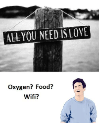 Oxygen, All You Need Is Love, and Needs: ALL YOU NEED IS LOVE  Oxygen? Food?  Wifi?