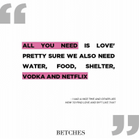 Vodka, Girl Memes, and All You Need Is Love: ALL YOU NEED IS LOVE  PRETTY SURE WE ALSO NEED  WATER, FOOD, SHELTER  VODKA AND NETFLIX  I HAD A NICE TIME AND OTHER LIES  HOW TO FIND LOVE AND SH T LIKE THAT  BETCHES You also need our NYT bestselling book, I Had A Nice Time & Other Lies: How To Find Love and Sh*t Like That ‼️LINK IN BIO (or betches.co-book2)