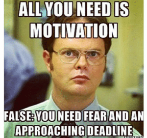motivation: ALL YOU NEED IS  MOTIVATION  FALSE: YOU NEED FEAR AND AN  APPROACHING DEADLINE