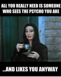 *love*: ALL YOU REALLY NEED IS SOMEONE  WHO SEES THE PSYCHO YOUARE  DARK HUMOR  ...AND LIKES YOU ANYWAY *love*