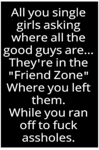 "Girls, Memes, and Fuck: All you single  girls asking  where all the  good guys are..  They're in the  ""Friend Zone""  Where you left  them.  While you ran  off to fuck  assholes"