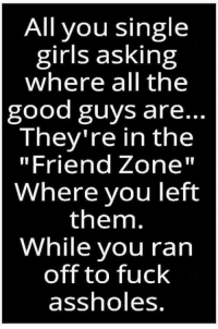 """Girls, Memes, and Fuck: All you single  girls asking  where all the  good guys are..  They're in the  """"Friend Zone""""  Where you left  them.  While you ran  off to fuck  assholes"""