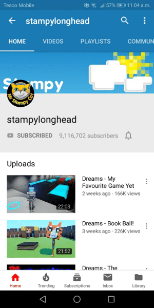 All57% 1104 Am Tesco Mobile Stampylonghead VIDEOS PLAYLISTS НОМE