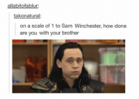 Memes, 🤖, and Holmes: allabitofablur:  takonatural:  on a scale of 1 to Sam Winchester, how done  are you with your brother Mycroft Holmes for me