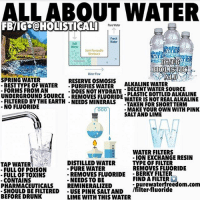 Drunk, Facebook, and Fresh: ALLABOUT WATER  Pure Water  Fresh  Water  Salt  Water  kaline  Semi-Permeable  Membrane  ATE  alin  TER  o 0900  Water Flow  SPRING WATER  RESERVE OSMOSIS  BESTTYPE OF WATERPURIFIES WATER  ALKALINE WATER  DOES NOT HYDRATE DECENT WATER SOUrCe  FORMS FROM AN  UNDERGROUND SOURCE REMOVES FLUORIDE  FILTERED BYTHE EARTH NEEDS MINERALS  NO FLUORIDE  PLASTIC BOTTLED ALKALINE  WATER IS NOT REALALKALINE  -TAKEN FOR SHORTTERM  000MA  MAKE YOUR OWN WITH PINK  SALTAND LIME  WATER FILTERS  - ION EXCHANGE RESIN  TYPE OF FILTER  REMOVES FLUORIDE  TAP WATER  FULL OF POISON  FULL OF TOXIN  CONTAINS  PHARMACEUTICALS REMINERALIZED  SHOULD BE FILTERED USE PINK SALTAND  BEFORE DRUNK  DISTILLED WATER  - PURE WATER  - REMOVES FLUORIDE BERKY FILTER  NEEDS TO BE  FIND A FILTER  - purewaterfreedom.com  filter-fluoride  LIME WITH THIS WATER Follow ➡️ @holisticali I worked hard on it PLEASE LIKE, l I hope everyone can benefit from this post, please LIKE AND TAG! Shower filters can also be found in the link in the first image. I included a website you can get your filter from, KANGEN WATER is also a very good water filter as well but you have to request the fluoride filter as they have ones that don't filter fluoride. I tried to provide as much information into a post as possible! SHARE WITH EVERYONE. HolisticAli Water Life Pure IG 👉🏽 @realrawtruth FACEBOOK-YOUTUBE-SNAPCHAT 👉🏽 @holisticali SUBSCRIBE TO NEW YOUTUBE LINK IN BIO