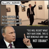"TW3%: ALLAHU AKBAR!  PUTIN RESPONDS TO  THE ASSASSINATION OF  RUSSIAN AMBASSADOR  fb.com/HostilityAgainstTyranny  ""ISIS WILL REGRET WHAT  THEY HAVE DONE, THIS IS  NOT BENGHAZIANDIAM  NOT OBAMA"" TW3%"