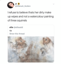 Dirty, Dank Memes, and Her: @Allanah_Mullern  l refuse to believe thats her dirty make  up wipes and not a watercolour painting  of three squirrels  ellie @ellieaddi  rip  Show this thread (@ship)