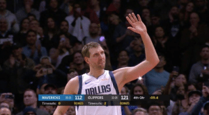 Doc called a timeout to stop the game so Clippers players and fans could give Dirk a standing ovation: ALLAS  MAVERICKS 26-33 112 CLIPPERS 3328 121 4th Qtr :09.4  Timeouts: 0  BONUS Timeouts: 2  BONUS Doc called a timeout to stop the game so Clippers players and fans could give Dirk a standing ovation