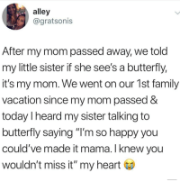 "Family, Memes, and Butterfly: alley  @gratsonis  After my mom passed away, we told  my little sister if she see's a butterfly,  it's my mom. We went on our 1st family  vacation since my mom passed &  today I heard my sister talking to  butterfly saying ""I'm so happy you  could've made it mama. I knew you  wouldn't miss it"" my heart"