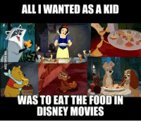 Disney, Food, and Movies: ALLI WANTED AS A KID  HUNNY  WAS TO EAT THE FOOD IN  DISNEY MOVIES