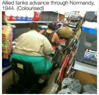 American, Brave, and Heroes: Allied tanks advance through Normandy,  1944. (Colourised) Brave american heroes on their way to stop oppression (1944)