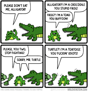 What did you call me?  Secret Panel HERE 🐊 mrlovenstein.com/comic/823: ALLIGATOR?! I'M A CROCODILE  YOU STUPID FRO0G!  PLEASE DON'T EAT  ME, ALLIGATOR!  FROG?! I'M A TOAD  YOU BUFFOON!  PLEASE, YOU TWO,  STOP FIGHTING!  TURTLE?! I'M A TORTOISE  YOU FUCKIN' IDIOTS!  SORRY, MR. TURTLE  @MrLovenstein MRLOVENSTEIN.COM  THIS COMIC MADE POSSIBLE THANKS TO DAN PAPPAS What did you call me?  Secret Panel HERE 🐊 mrlovenstein.com/comic/823