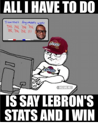 Internet, Nba, and Smh: ALLIHAVE TO DO  Internet Aravments won  CONBAMEMES  ISSAY LEBRON'S  STATS ANDIWIN Smh at these keyboard warriors. Credit: LeBronJamesHatersUnited