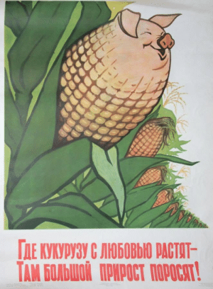 "alliluyevas:  ""where corn is grown with love, there will be a large increase of piglets""good morning this is the most genuinely wholesome and endearing soviet propaganda poster i've ever seen: alliluyevas:  ""where corn is grown with love, there will be a large increase of piglets""good morning this is the most genuinely wholesome and endearing soviet propaganda poster i've ever seen"