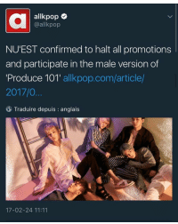 "allkpop  @allkpop  NU EST confirmed to halt all promotions  and participate in the male version of  Produce 101  allkpop.com/article  2017/0  Traduire depuis anglais  17-02-24 11:11 YOU BETTER LISTEN YOUR ASS HERE. THESE BOYS DO NOT DESRVE THIS TYPE OF DISRESPECT. YOU WILL BOT PUT LEGENDS IN WITH UNKNOWN PEOPLE. KIDS LISTEN TO ME. YOU HAVE TWO EARS AND USE THEM. IF THEY GO IN THIS SHOW, VOTE YOUR ASS OFF. MAKE IT ""NUEST + A FEW OTHERS"" IF NUEST WANTS TO PARTICIPATE IN THIS ITS A PITTY BUT YOU WILL WORK YOUR ASS OFF TO MAKE THEM ALL WIN. YOU WILL MAKE NUEST A SECOND GROUP WITH A FEW EXTRAS. DO YOU UNDERSTAND ME. YOU WILL WORK YOUR ASS OFF AND VOTE LIKE FUCKING MACHINES JUST SO WE CAN HAVE NUEST BE APPRECIATED. I CANT FUCKING BELIEVE THIS. NUEST ISNT A TRAINEE GROUP. THEY HAVENT DISBANDED. THEY DONT DESERVE THIS TYPE OF DISRESPECT. THEY ARE ABOVE THIS. PLEDIS YOU BOUT TO CATCH THESE HANDS I SWEAR."