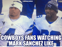 Memes, Record, and Cowboy: @allthingscowboys  FOX  NFI  COWBOYS FANS WATCHING  MARK SANCHEZLIKE Cowboys finish the regular season with a 13-3 record, NFC East Champions and will have home field advantage throughout the playoffs. ThrowUpTheX CowboysNation ✭