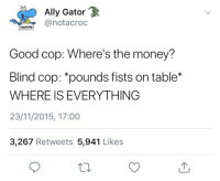 "Money, Ally, and Good: Ally Gator 3  notacroc  squirtle  Good cop: Where's the money?  Blind cop: ""pounds fists on table*  WHERE IS EVERYTHING  23/11/2015, 17:00  3,267 Retweets 5,941 Likes"
